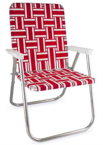 red and white lawn chair